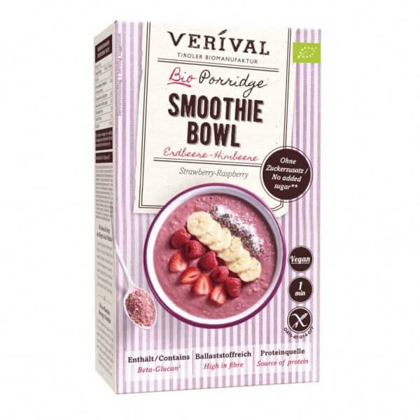 Porridge Smoothie Bowl aux fraises et framboises